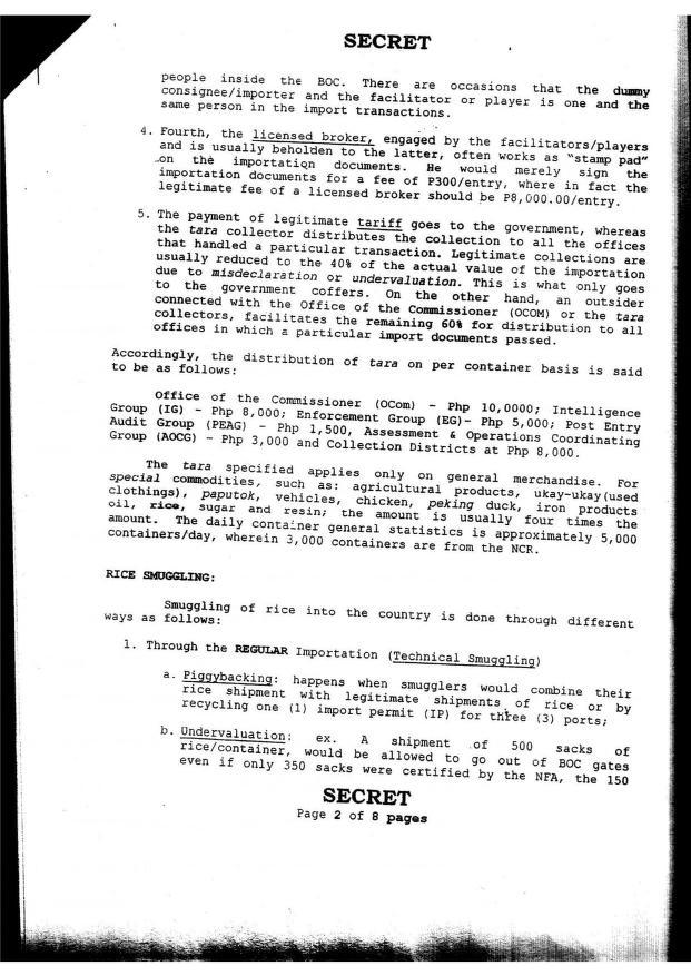 Confidential report regarding corruption in the Bureau of Customs and involvement of Iglesia ni Cristo_0003